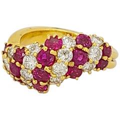 18 Karat Yellow Gold, 2.31 Carat Ruby and 1.10 Carat Diamond Cocktail Ring