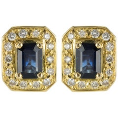 18 Karat Yellow Gold 2.50 Carat Sapphire Diamond Stud Earrings