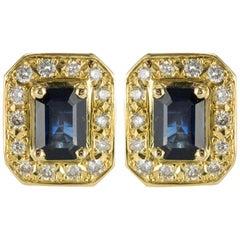 18 Karat Yellow Gold 2.50 Carat Sapphire Diamond Stud Earrings