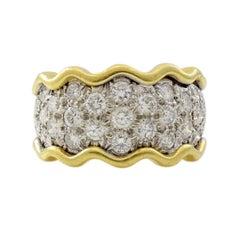 18 Karat Yellow Gold 3 Carat Diamond Estate Band Ring