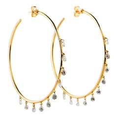 18 Karat Yellow Gold 3.00 Carat 20 Diamond Stones Outside Hoop Earrings 10.85g