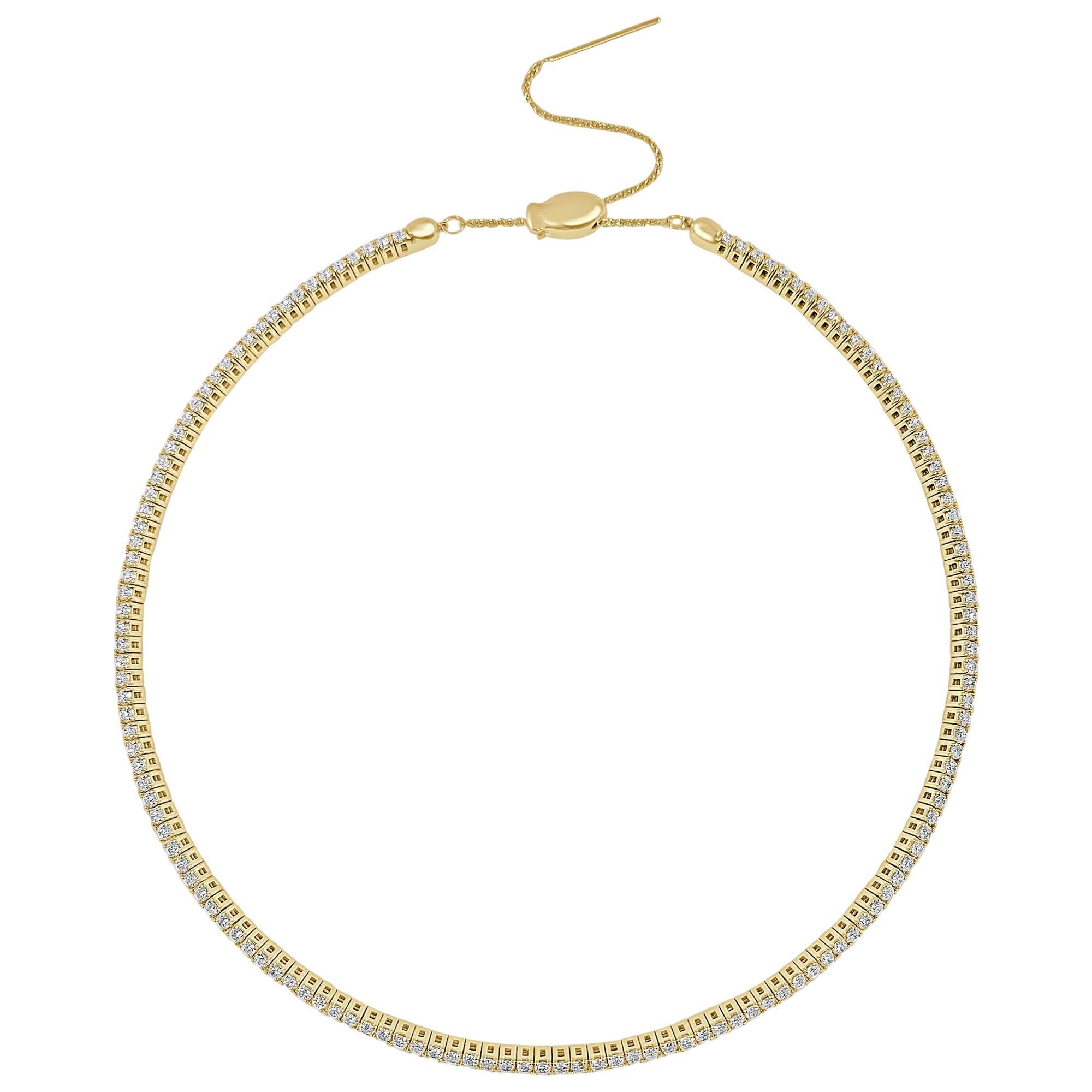 18 Karat Yellow Gold 3.56 Carat Flexible Diamond Choker Collar Necklace