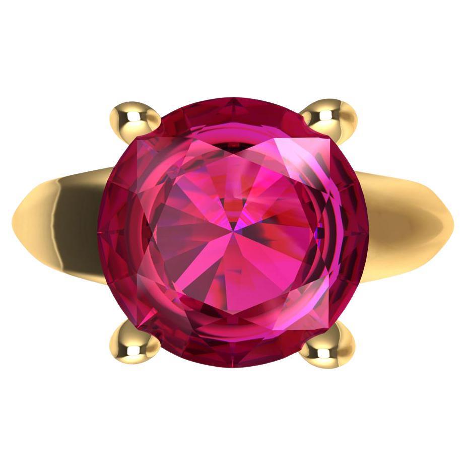 18 Karat Yellow Gold 3.63 Carat Pink Sapphire Teardrop Ring