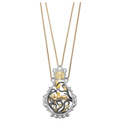 18 Karat Yellow Gold 3.8 Carat Sapphire Briolettes Diamonds Pendant Necklace