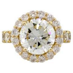 18 Karat Yellow Gold 4.02 Carat GIA Certified Round Brilliant Diamond Ring