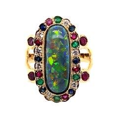 18 Karat Yellow Gold 4.60 carat Australian Black Opal Cocktail Ring