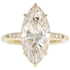 18 Karat Yellow Gold 4.63 Carat Marquise Cut Diamond Engagement Ring