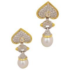 18 Karat Yellow Gold, 4.94 Carat Diamond and South Sea Pearl Hanging Earrings
