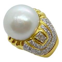 18 Karat Yellow Gold, 4.96 Carat Diamond and South Sea Pearl Ring
