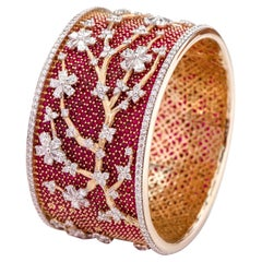 18 Karat Yellow Gold 49.80 Carats Ruby and Diamond Bangle in Contemporary Style