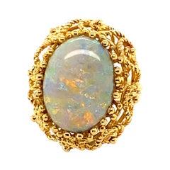 18 Karat Yellow Gold 5 Carat Australian Opal Cocktail Ring