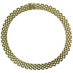 18 Karat Yellow Gold 5-Row Panther Style Necklace