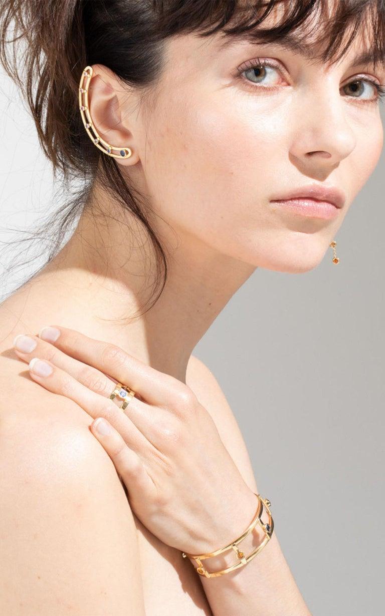 Women's or Men's 18 Karat Yellow Gold 6 Brilliant Cut Sapphires 'Right Ear' Earring, Ear Cuff For Sale