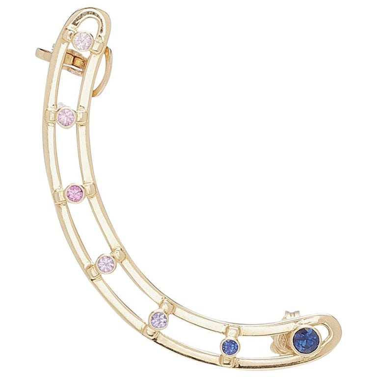 18 Karat Yellow Gold 6 Brilliant Cut Sapphires 'Right Ear' Earring, Ear Cuff For Sale
