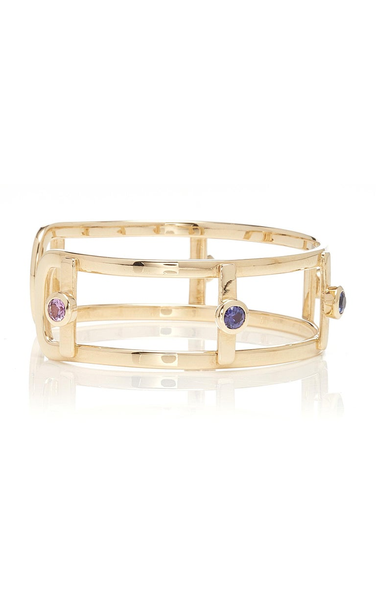 Inspired by time, Anna Maccieri Rossi's 'Sunset Bracelet' tells a story of change through the colors of the natural sapphires. Each individual color represents a moment from sunset to night. Sunset to Sunrise Collection. PRODUCT DETAILS Slips