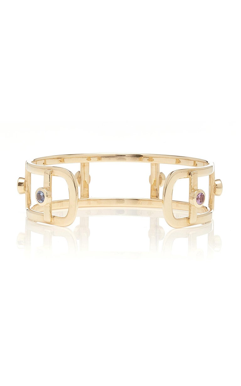 18 Karat Yellow Gold 6 Natural Sapphires Bangle Bracelet In New Condition For Sale In Santarcangelo Di Romagna, IT