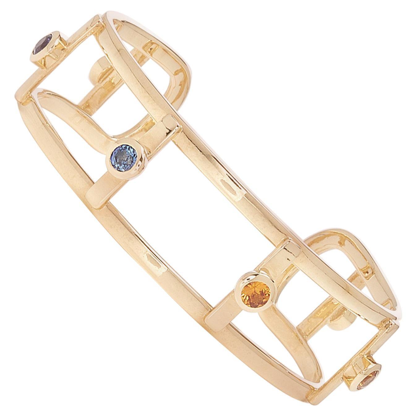 18 Karat Yellow Gold 6 Natural Sapphires Bangle Bracelet