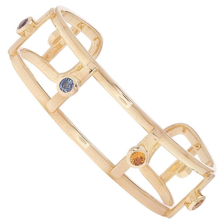 18 Karat Yellow Gold 6 Natural Sapphires Bangle Bracelet For Sale