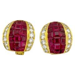 18 Karat Yellow Gold 6.00 Carat Ruby 1.42 Carat Diamond Earrings
