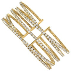18 Karat Yellow Gold 6.72 Carat Diamond Flexible Cuff Bracelet