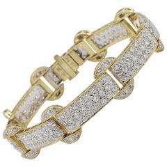 18 Karat Yellow Gold 7 Carat Pave Diamond Bracelet