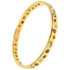 18 Karat Yellow Gold 7.61 Carat Mixed Colors and Cut Diamonds Handmade Bangle