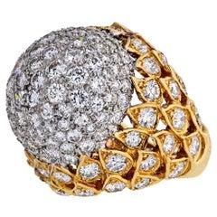 18 Karat Yellow Gold 8 Carat Diamond Bombe Cluster Ring