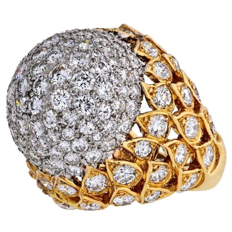 18 Karat Yellow Gold 8 Carat Diamond Bombe Cluster Ring For Sale