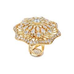 18 Karat Yellow Gold 8.42 Carat Diamonds Cocktail Ring