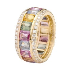 18 Karat Yellow Gold 8.62 Carat Multi-Sapphire and Diamond Eternity Band Ring