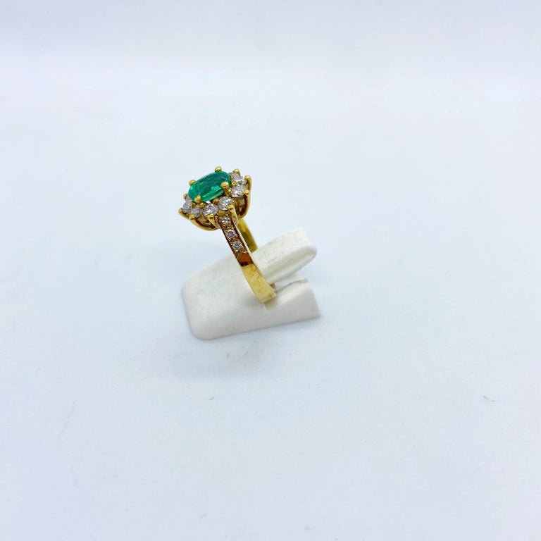 18 Karat Yellow Gold, .86 Carat Oval Emerald Ring with .75 Carat Diamonds For Sale 2