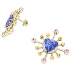 18 Karat Yellow Gold '8.8 gr', Tanzanite, Sapphires, Diamonds Earrings