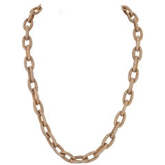 18 Karat Yellow Gold 90 Carat Pave Link Chain Necklace