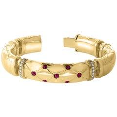 18 Karat Yellow Gold 94 Grams and Ruby Diamond Bangle or Bracelet, Estate
