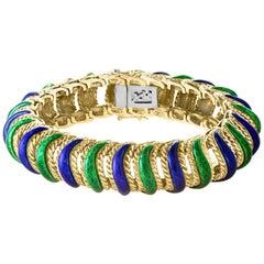 18 Karat Yellow Gold 95 Grams and Green and Blue Enamel Bangle or Bracelet
