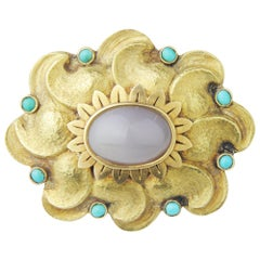 18 Karat Yellow Gold, Agate and Turquoise Brooch Pin
