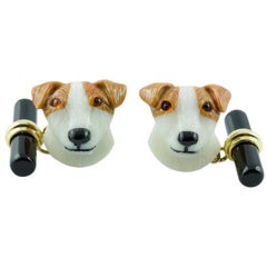 18 Karat Yellow Gold Agate Dog Cufflinks with Rubies