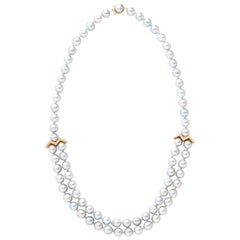 18 Karat Yellow Gold Akoya Pearl Necklace