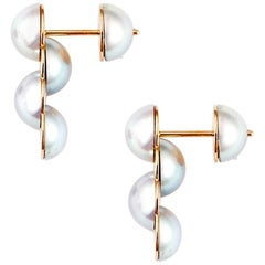 18 Karat Yellow Gold Akoya Pearl Reversible Stud Earrings