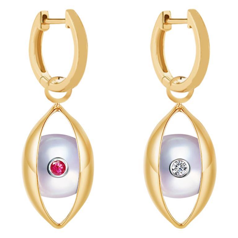 Eye Hoop Earrings 18 Karat Yellow Gold Akoya Pearls Ruby Diamond