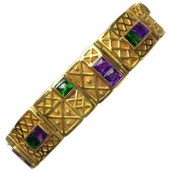 18 Karat Yellow Gold, Amethyst, and Chrome Tourmaline Link Bracelet