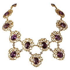 18 Karat Yellow Gold, Amethyst and Diamond Necklace