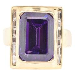 18 Karat Yellow Gold Amethyst and Diamond Ring
