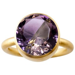18 Karat Yellow Gold Amethyst and Smoky Quartz Two-Stone Modern Cocktail Ring