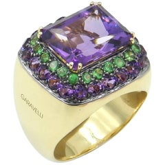 18 Karat Yellow Gold Amethyst and Tsavorite Garavelli Ring
