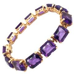 18 Karat Rose Gold Amethyst Link Bracelet