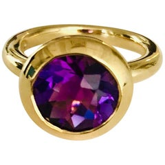 """18 Karat Yellow Gold Amethyst Ring from Our """"Polo"""" Collection"""