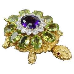 18 Karat Yellow Gold, Amethyst,Diamond, Peridot Pin The The Style Of Rosenthal.