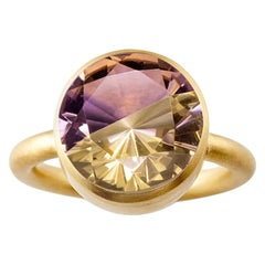18 Karat Yellow Gold Ametrine and Cognac Quartz Two-Stone Modern Cocktail Ring