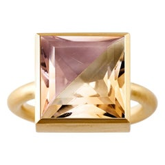 18 Karat Yellow Gold Ametrine Cognac Quartz Two-Stone Modern Cocktail Ring 7-13